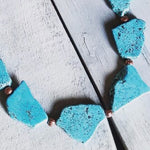 Blue Turquoise Slab Necklace with Leather Ties