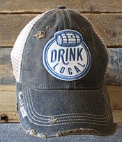 """Drink Local""  Distressed Snap Back Trucker"