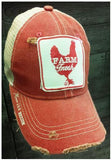 """Farm Fresh""  Distressed Red Snap Back Trucker"