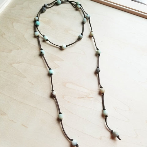 Frosted Amazonite Lariat Wrap Necklace