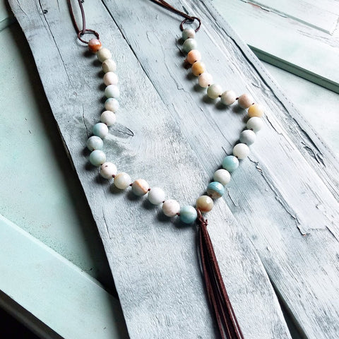 Frosted Amazonite Necklace with Long Fringe Tassel