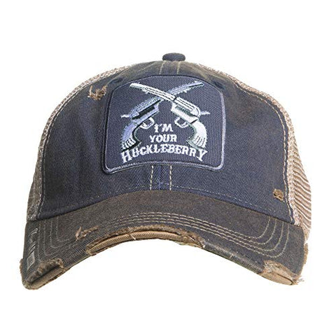 """I'm Your Huckleberry"" Navy Distressed Ball Cap"