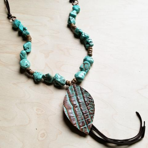 Turquoise and Wood Bead Necklace with Leather Tassel and Stamped Gator Pendant
