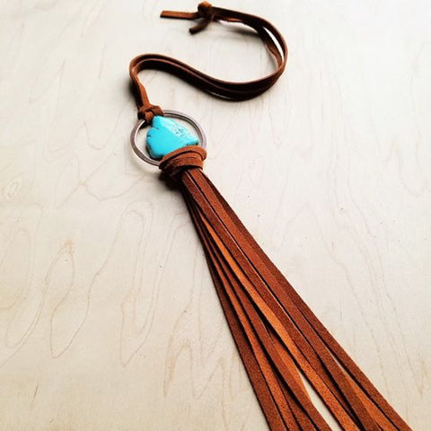 Blue Navajo Stone Slab Turquoise Necklace with Long Leather Tassel