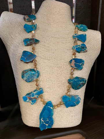 Ocean Blue Jasper and Crystal Statement Necklace