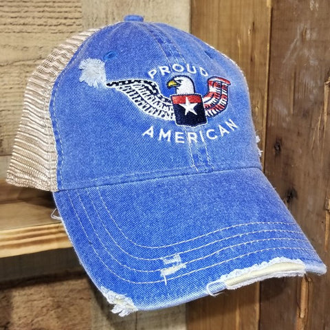 """Proud American"" Distressed Snap Back Trucker"