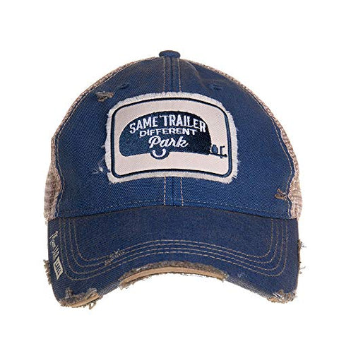 """Same Trailer, Different Park"" Vintage Style Distressed Snap Back Ball Cap with Tan Mesh"