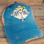 """Stay Salty"" Distressed Snap Back Trucker Cap"