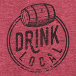 Drink Local Vintage Style Graphic T-Shirt. Red Unisex