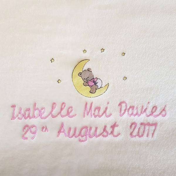 Baby Blanket - Personalised with name, surname, date of birth and picture