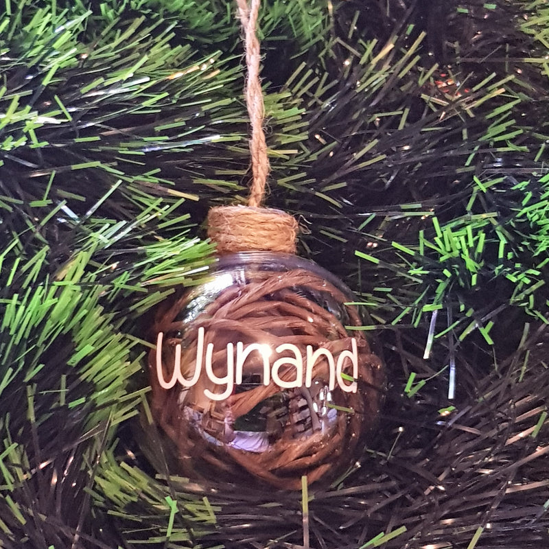 Christmas Bauble - Personalised (Rope and Wicker) - 8 cm
