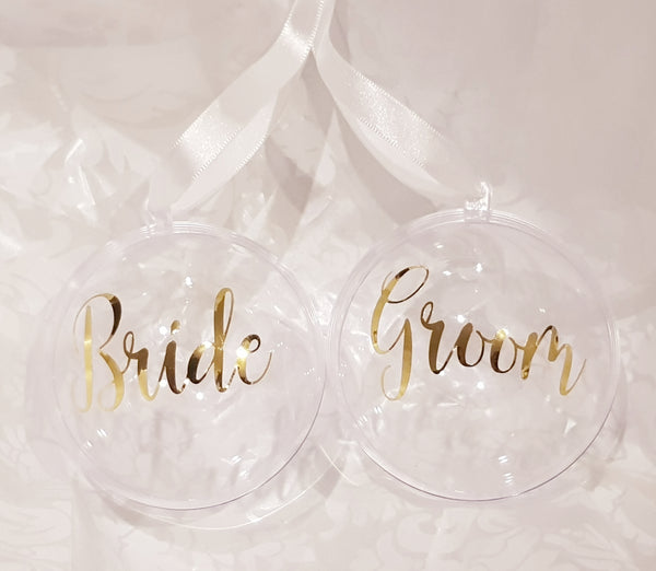 Personalised Bauble - Personalised Perspex Bauble (Gold or Silver Script Text)