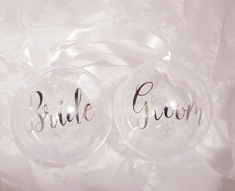 Christmas Bauble - Personalised Perspex bauble (Gold or Silver Script Text)