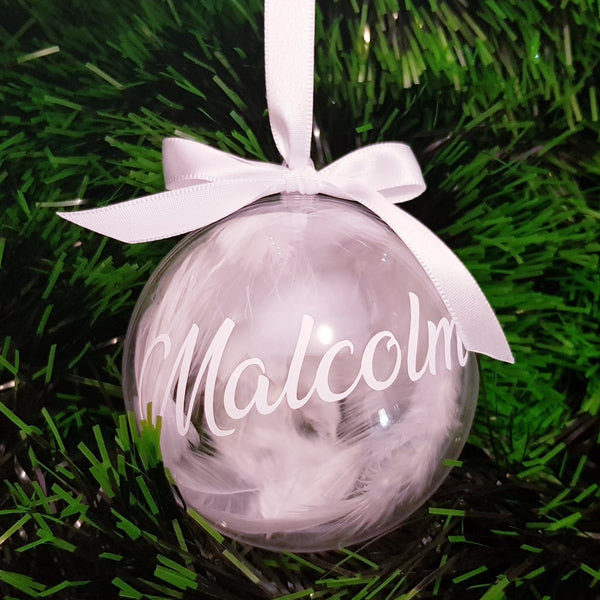 Christmas Baubles - Personalised (White Feathers)