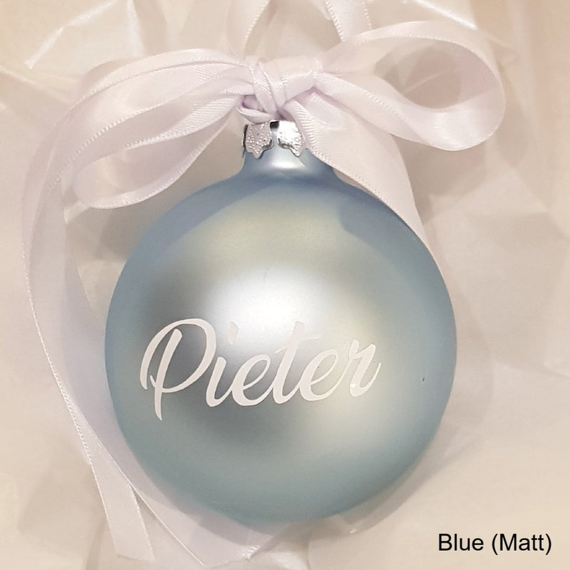 Christmas Bauble - Personalised - Glass (Ribbon with two ribbon bow)
