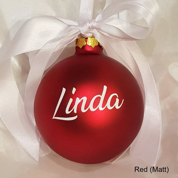 Personalized Christmas Balls.Christmas Bauble Personalised Glass Ribbon With Bow