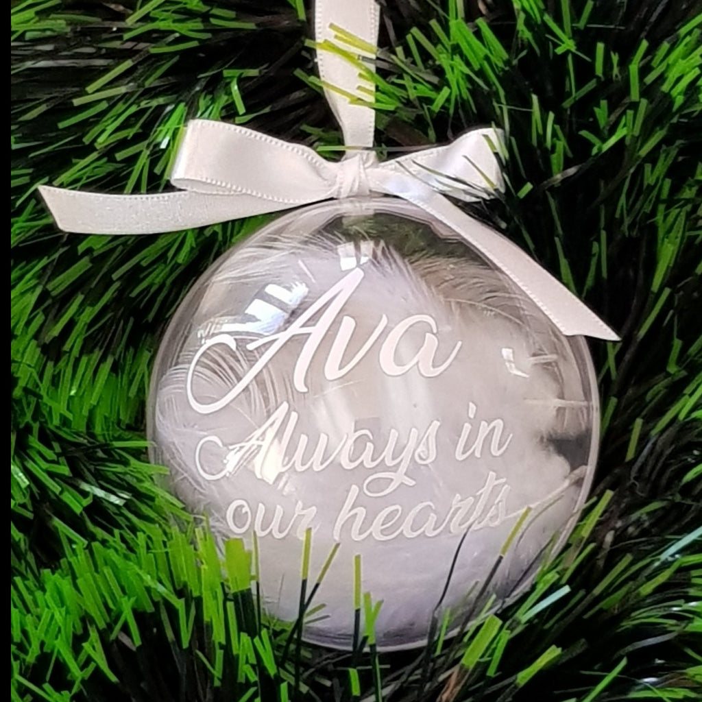 Bauble - In remembrance - Personalised with White Feathers