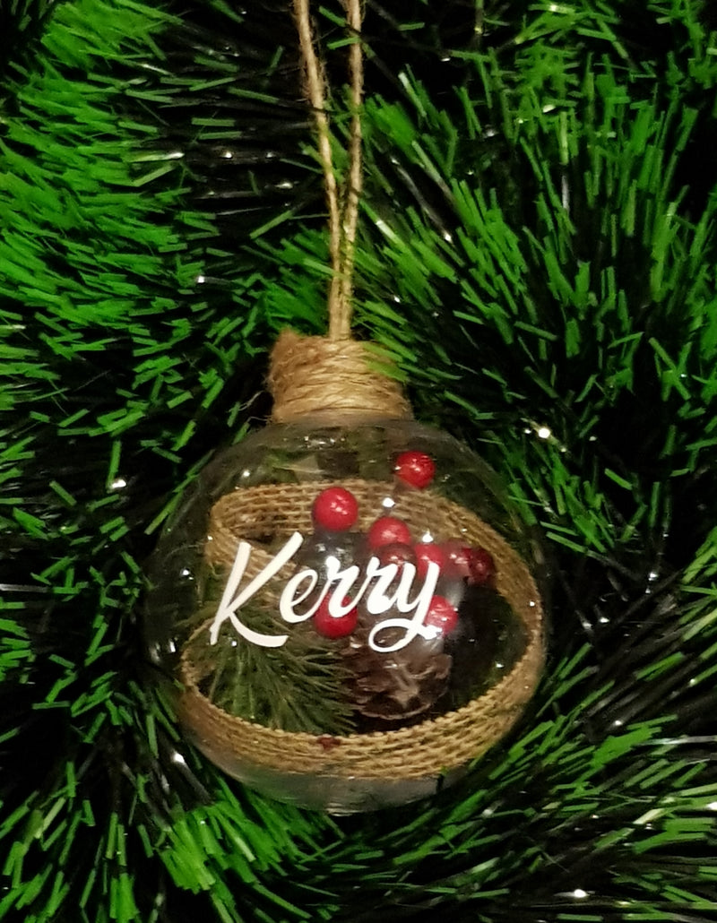 Christmas Bauble - Personalised (Mistletoe & hessian / Berries) - 8 cm