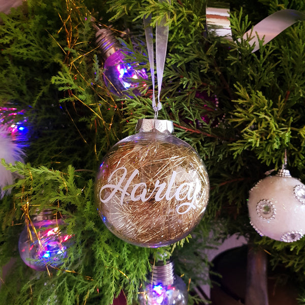 Christmas Bauble - Personalised (Gold or Silver Tinsel)