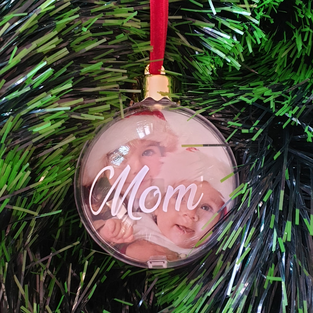 Photo Bauble - Clear Photo Bauble (8cm) - with name