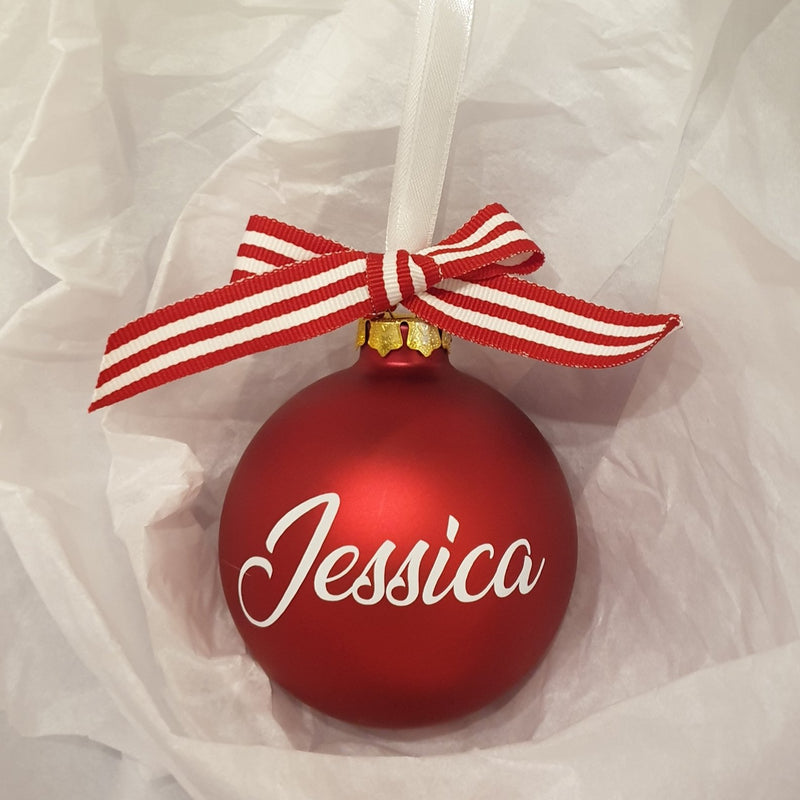 Christmas Bauble - Personalised - Glass (with candy stripe bow)