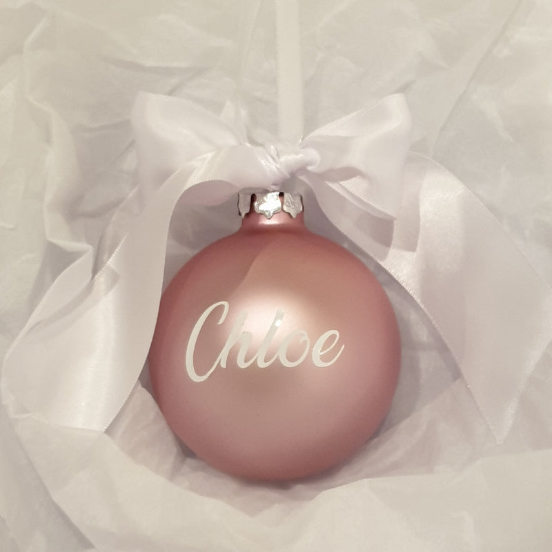 Christmas Bauble - Personalised - Glass (Ribbon with thick satin bow)