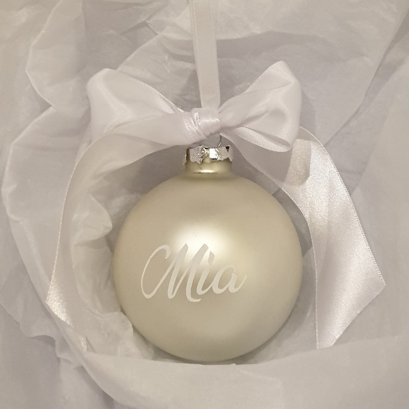 Personalised baubles by Honeybunch