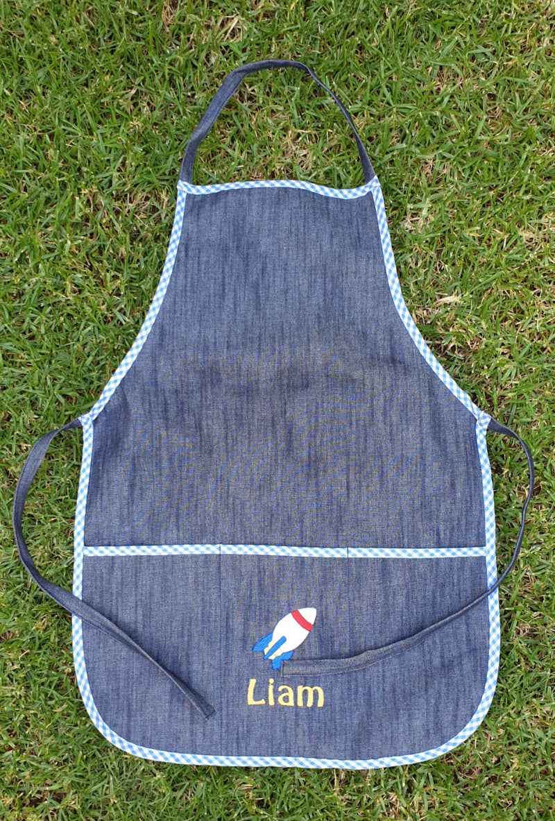 Embroidered Denim Art Apron for Children