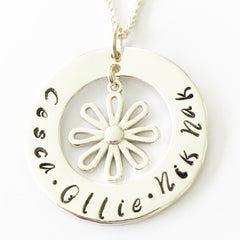 30 mm Personalised Hoop Necklace with Daisy Dangle