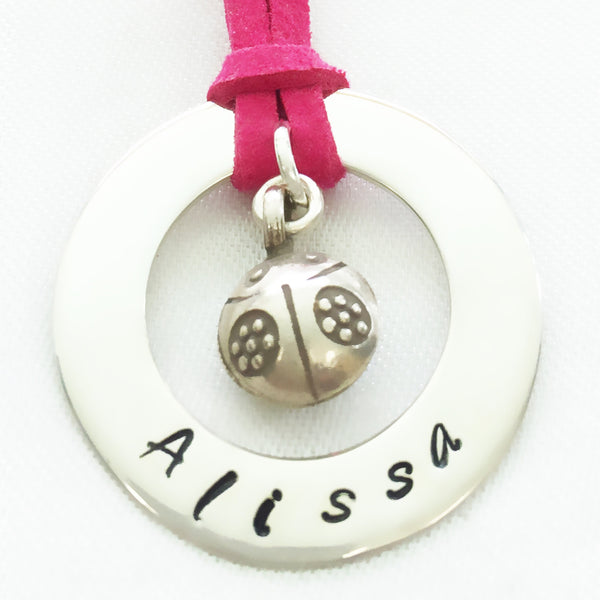 30 mm Personalised Hoop Necklace with Ladybird