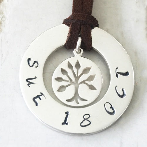 30 mm Personalised Hoop Necklace with Leafy Tree of Life