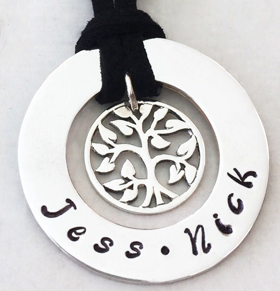 30 mm Personalised Hoop Necklace with New Tree of Life