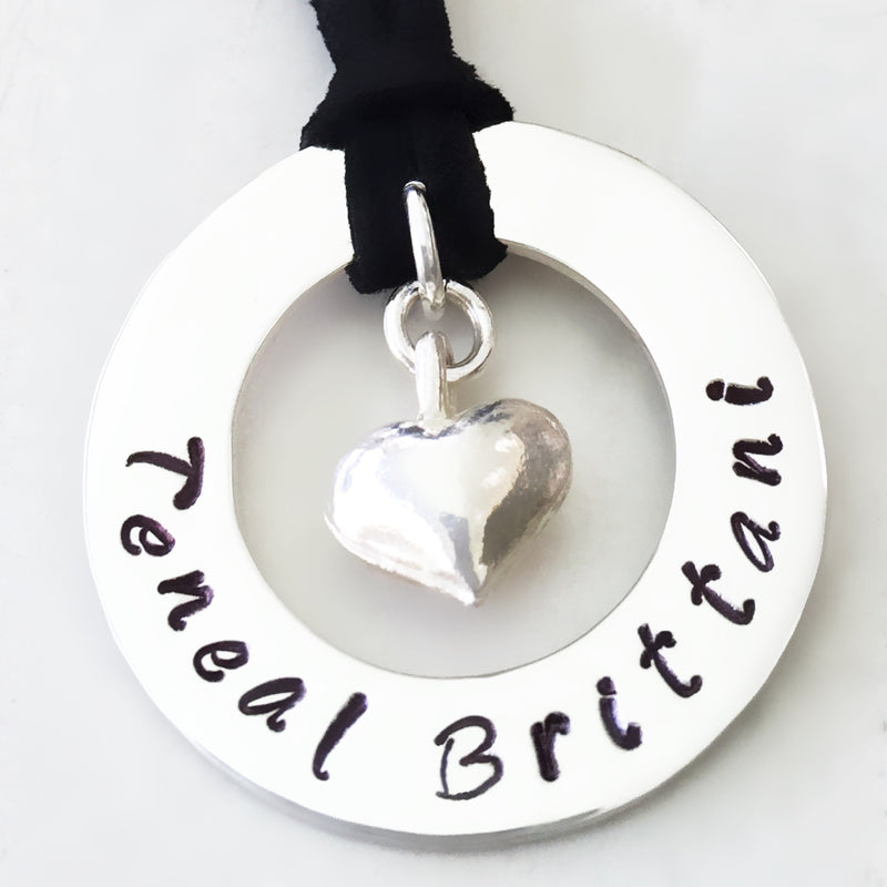 30 mm Personalised Hoop Necklace with Puffy Silver Heart Dangle