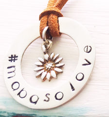 30 mm Personalised Hoop Necklace with Sunflower Dangle