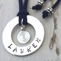 30 mm Personalised Hoop Necklace with Swirl Dangle