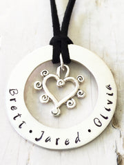 40 mm Personalised Hoop Necklace with Curly Heart Dangle