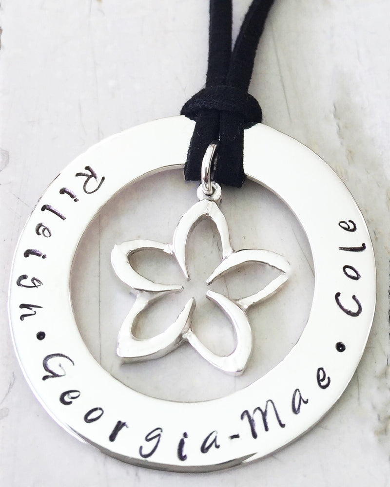 40 mm Personalised Hoop Necklace with Flower Dangle