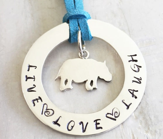 40 mm Personalised Hoop Necklace with Hippo Charm