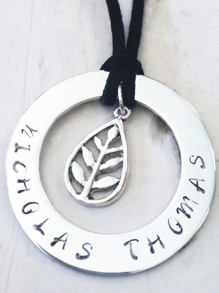 40 mm Personalised Hoop Necklace with Leaf Charm