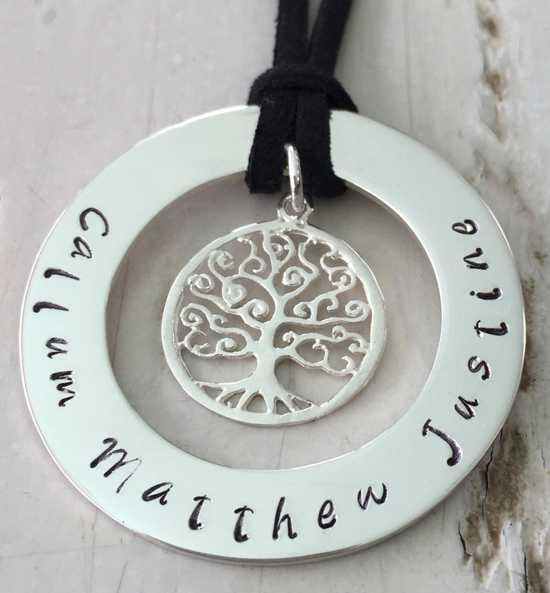 40 mm Personalised Hoop Necklace with Tree of Life Dangle
