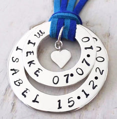 Combined Personalised Hoop Necklace with Shiny Heart