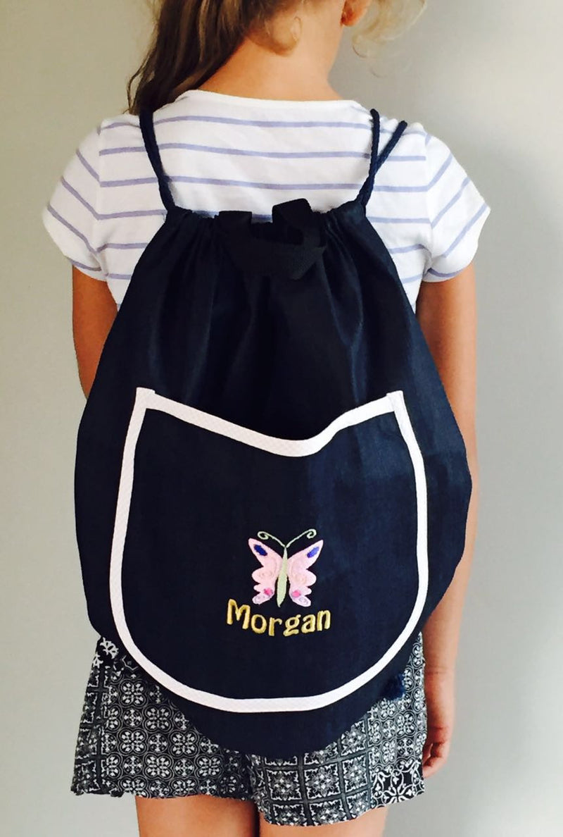 Personalised Denim Drawstring Bag