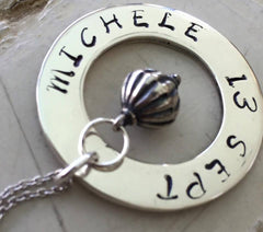 30 mm Personalised Hoop Necklace with Puffy Drop Dangle