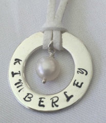 30 mm Personalised Hoop Necklace with Fresh Water Pearl