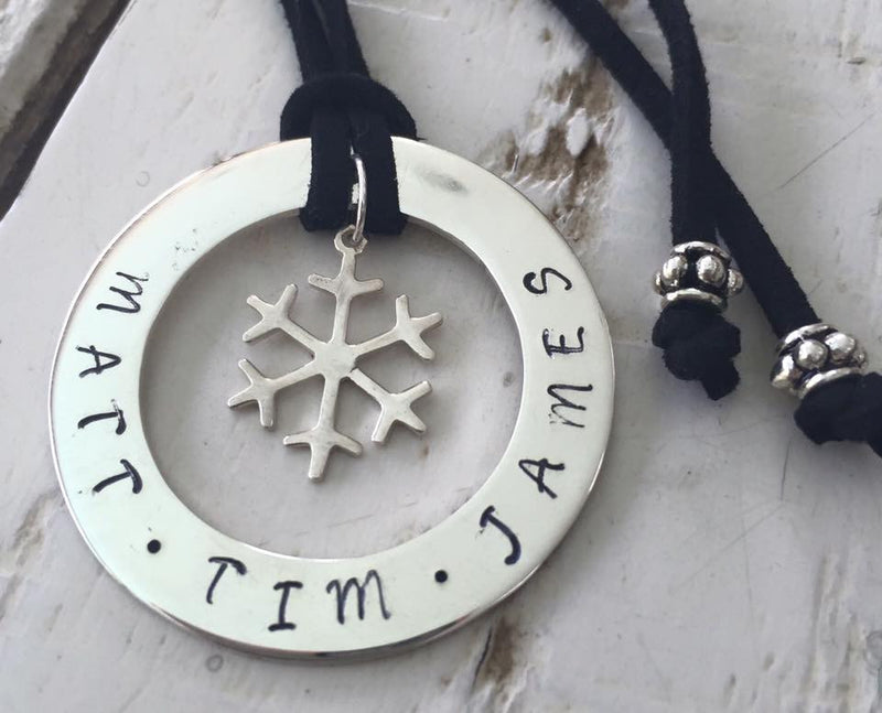 40 mm Personalised Hoop Necklace with Snowflake Dangle