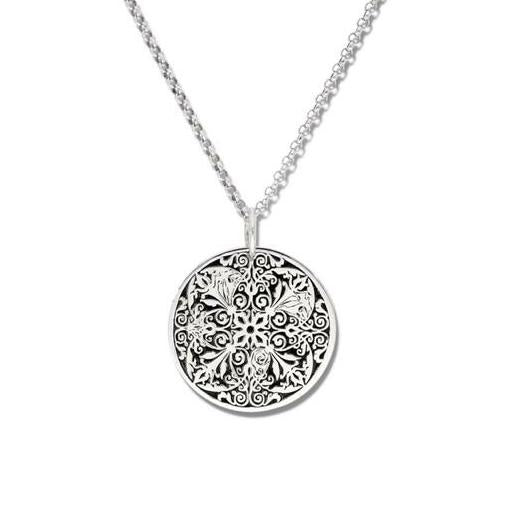 Sterling Silver Round Lace Pendant and chain
