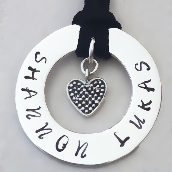 30 mm Personalised Hoop Necklace with Oxidised Heart