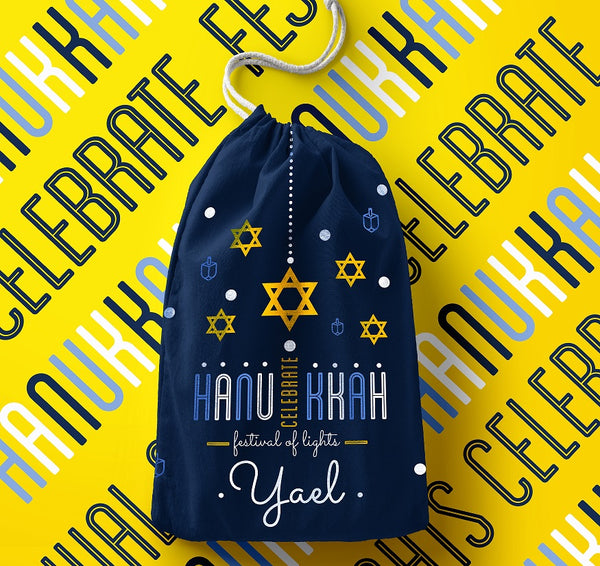 Personalised Happy Hanukkah Bag (Navy)