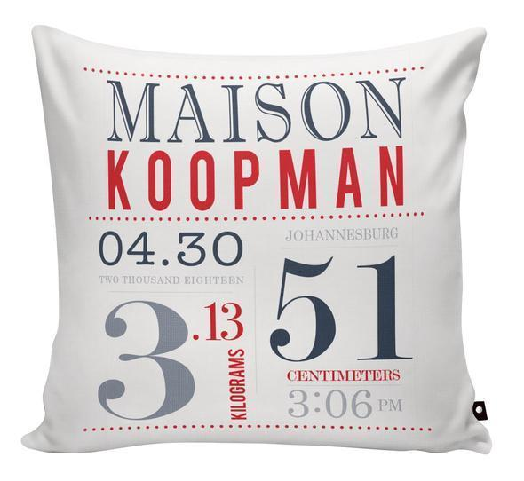 Birthdate Announcement Cushion