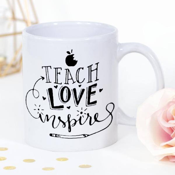 Personalised Teach, Love, Inspire Teacher's Mug